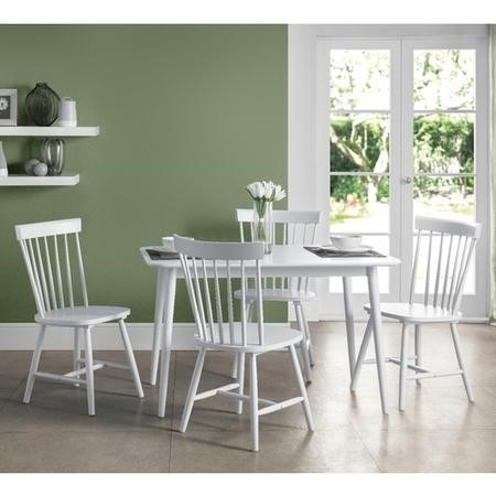 Julian Bowen Torino White Dining Table and 4 Chairs