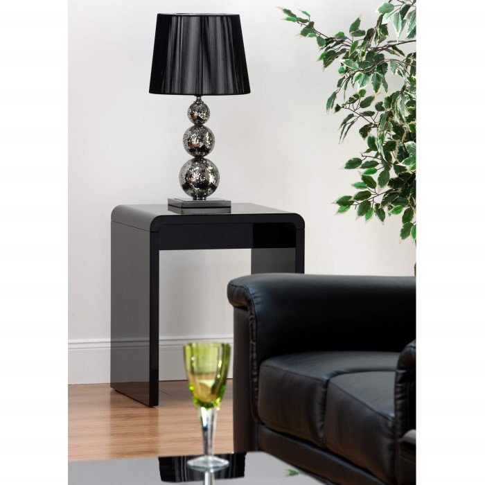 World Furniture Toscana Lamp Table In Black High Gloss
