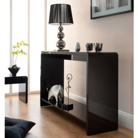 World Furniture Toscana Console Table in Black High Gloss ...