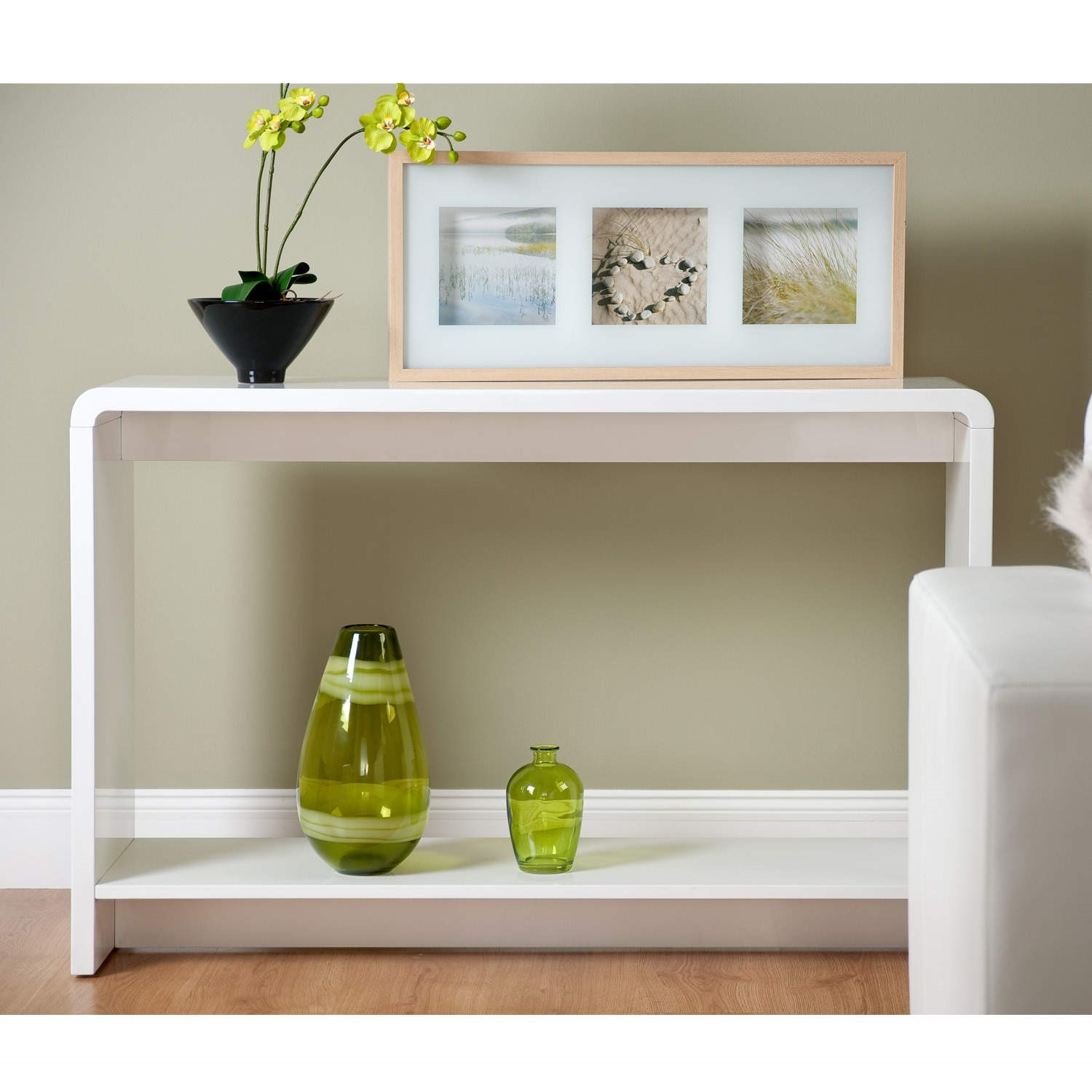 World Furniture Toscana Console Table in High Gloss White Furniture123
