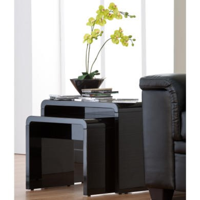 World Furniture Toscana Nest of Tables in Black High Gloss