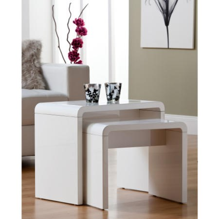 World Furniture Toscana High Gloss Nest of Tables in White