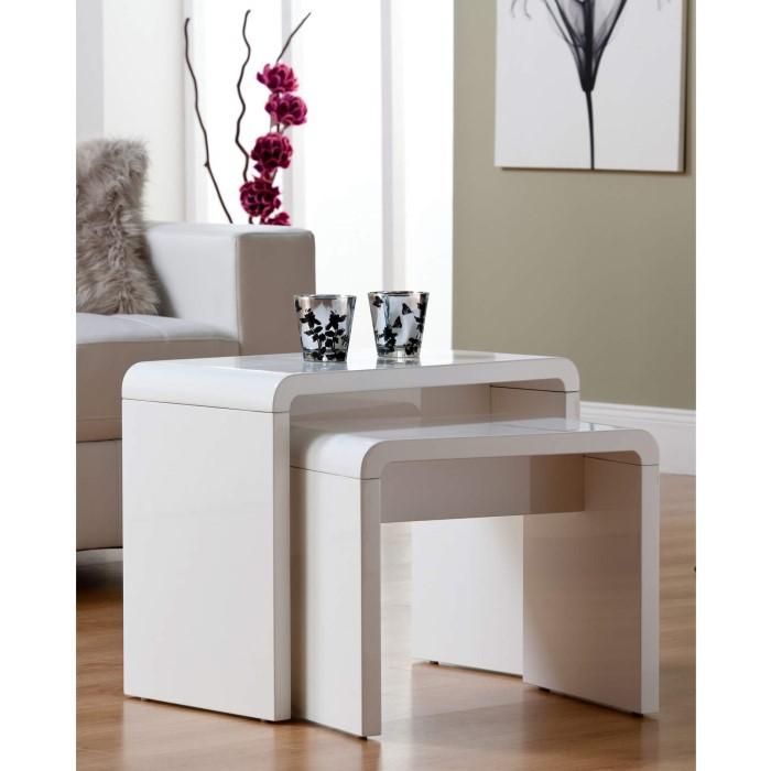 Toscana White High Gloss Coffee Table: World Furniture Toscana High Gloss Nest Of Tables In White