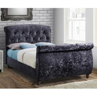 BirleaToulouse Double Bed Upholstered in Black Crushed Velvet