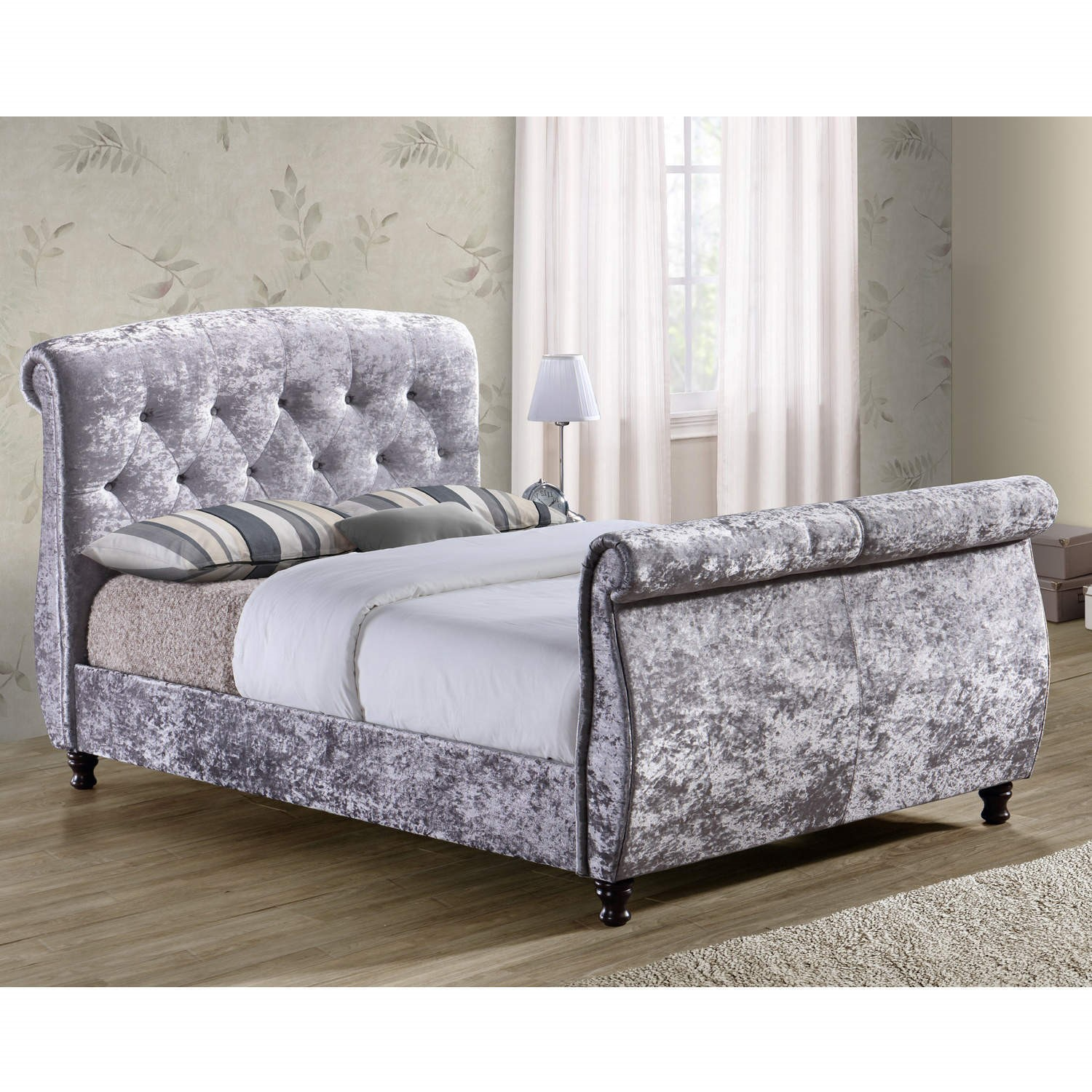 Birlea Toulouse Crushed Velvet Double Bed Grey Furniture123