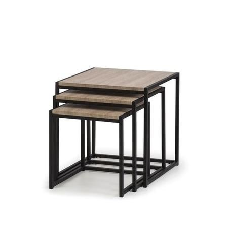 Tribeca Nest of Tables with Black Metal Base & Oak Top - 3 - Julian Bowen