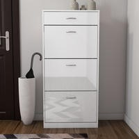 Torino Tall Shoe Cabinet in White High Gloss 4 Drawer -18 Pairs