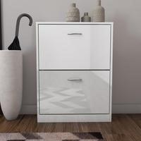 Torino 2 Drawer Shoe Cabinet in white High Gloss -6 Pairs