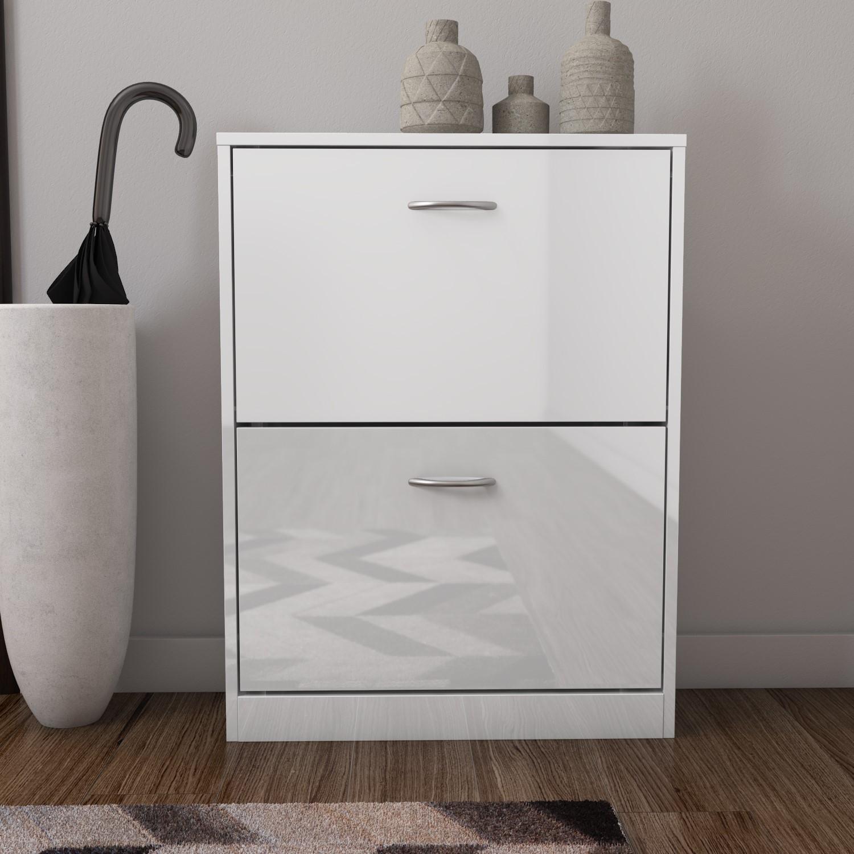 Torino White High Gloss Shoe Storage Cabinet with 2 Drawers  6 Pairs