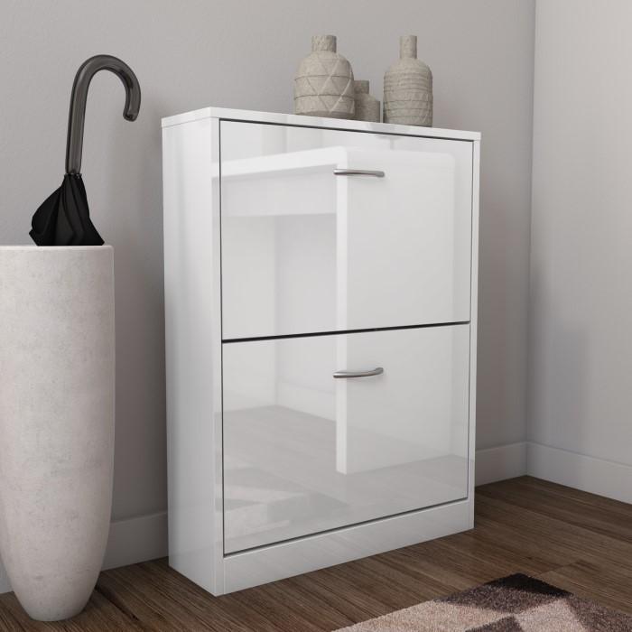 Torino Narrow White Shoe Storage Cabinet 6 Pairs