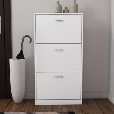 Torino Narrow White Shoe Storage Cabinet  9 Pairs