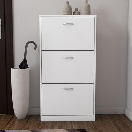 Torino 3 Drawer Shoe Storage Cabinet In White 9 Pairs