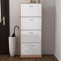 Torino 4 Door Shoe Cabinet in High Gloss and Oak - 12 Pairs