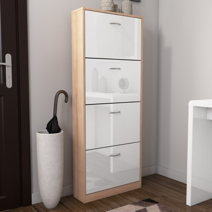 Torino 4 Door Shoe Storage Cabinet In High Gloss And Oak 12 Pairs