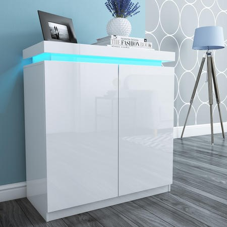 Tiffany Shoe Cabinet In White High Gloss With Led Lighting