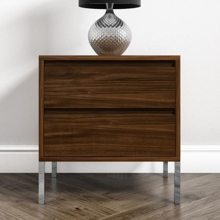 Travis Walnut 2 Drawer Bedside Table