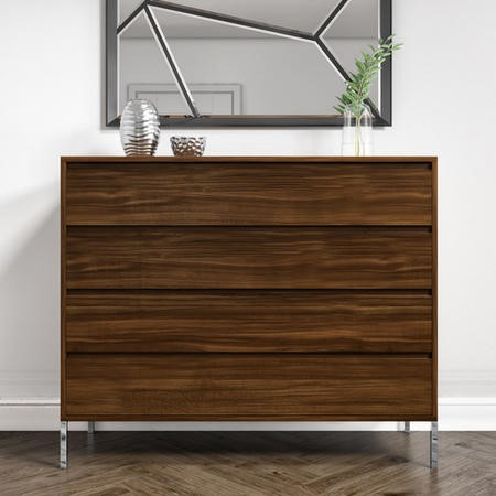 Travis Walnut 4 Drawer Chest of Drawers