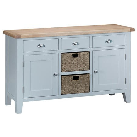 Grasemere Large Sideboard with Baskets in Grey