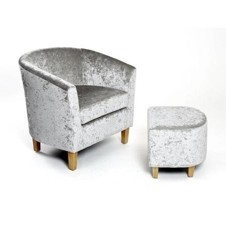 Silver Crushed Velvet Tub Chair and Footstool Set