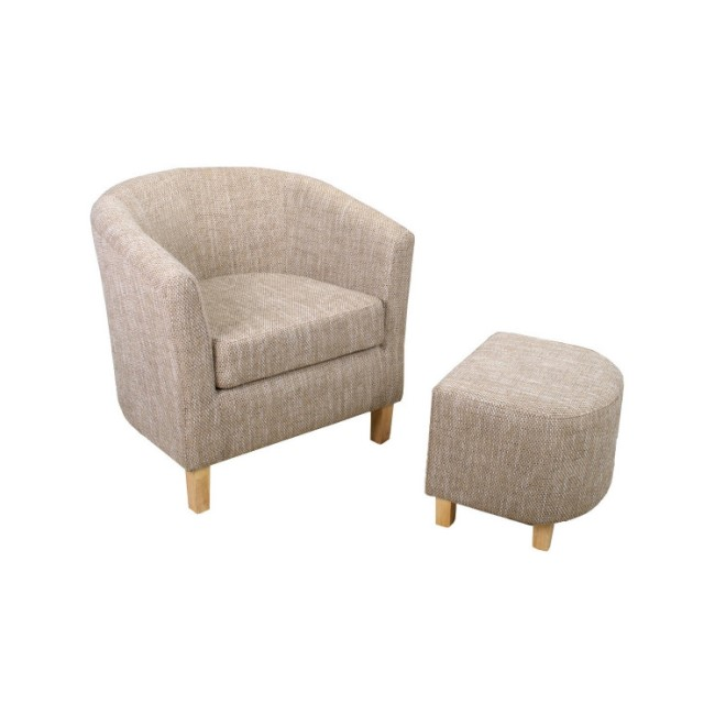 Tweed BeigeTub Chair & Footstool Set