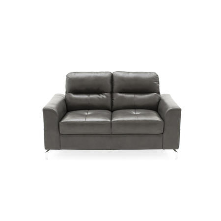 Tanaro Grey Leather Sofa - Seats 2