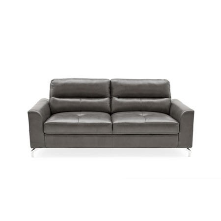 Tanaro Grey Leather Sofa - Seats 3