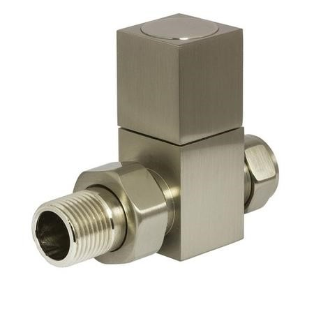 Square Straight Radiator Valves Brushed Nickel