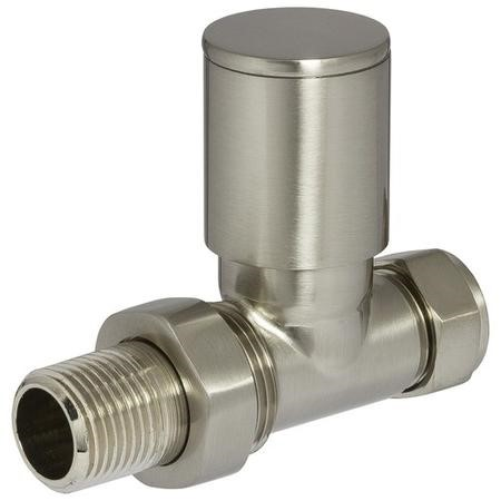 Round Straight Radiator Valves Brushed Nickel