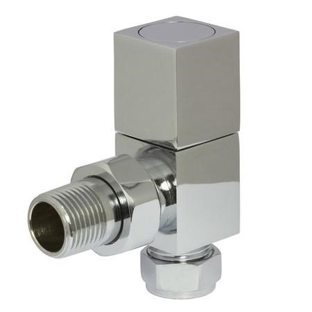 Square Angled Radiator Valves Chrome