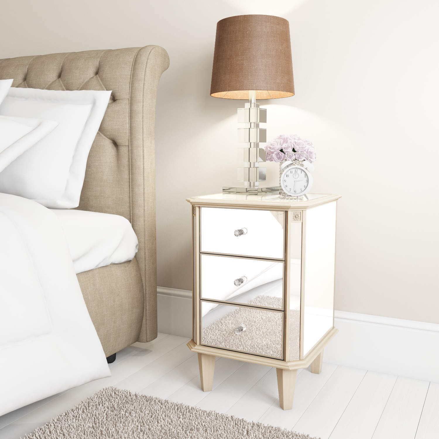Quality In Venetian Lamp Mirrored Mirror Bed Side Bedside Table Bedroom Living Room Excellent