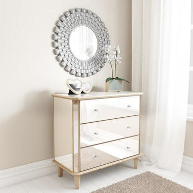 Valentina Mirrored Gold Leaf 3 Drawer Chest of Drawers