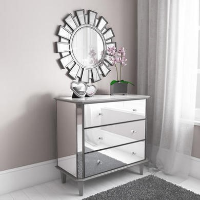 Valentina Mirrored Silver Leaf 3 Drawer Chest of Drawers