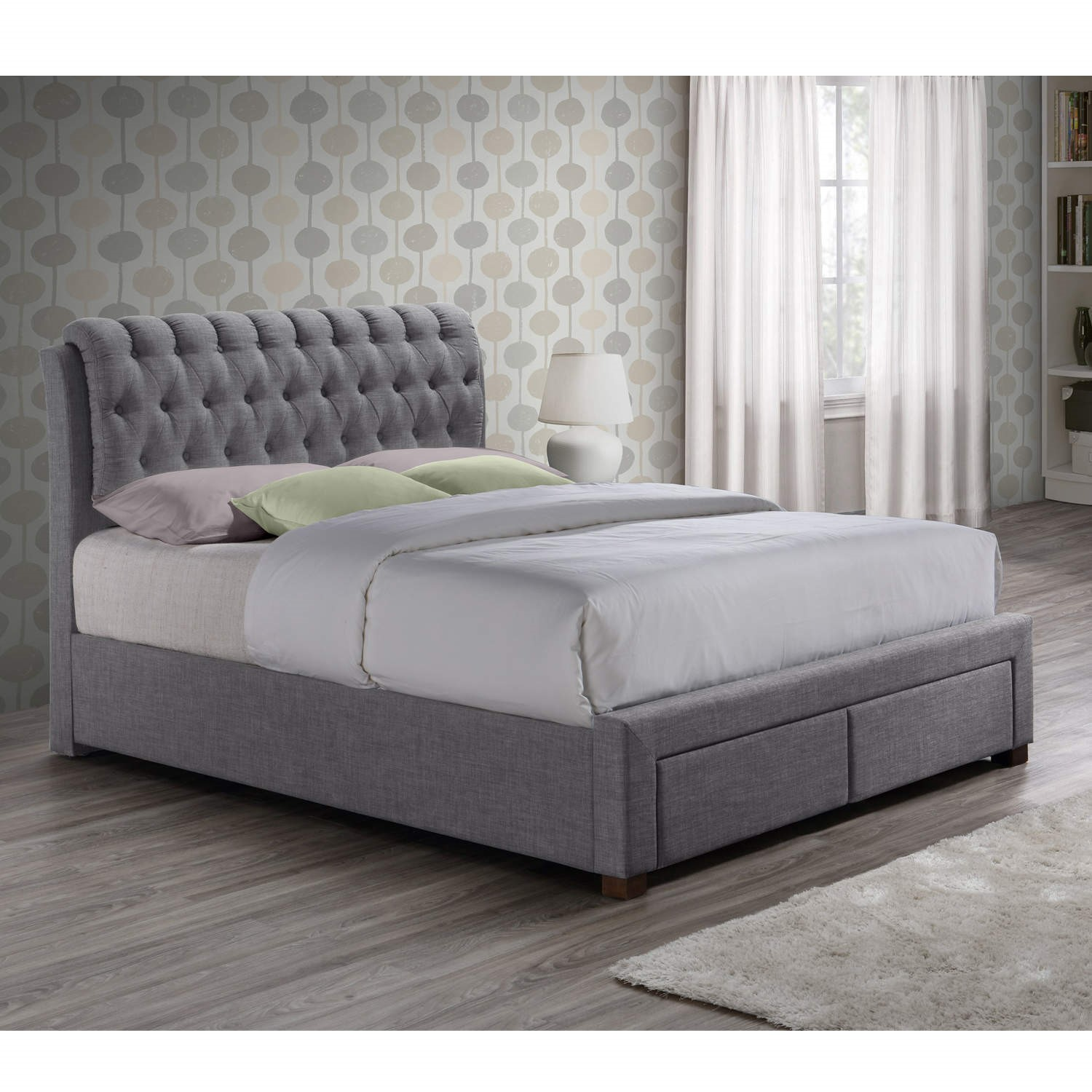 Birlea Valentino 2 Drawer Double Bed Grey Furniture123