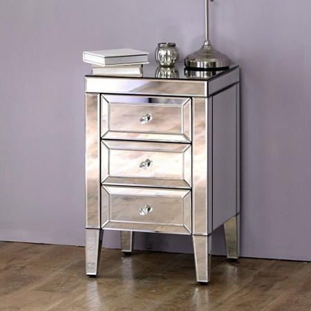 Valencia Mirrored 3 Drawer Bedside Table Furniture123