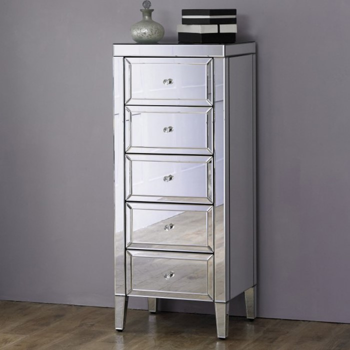 7a630acc1435 Valencia Mirrored 5 Drawer Narrow Chest of Drawers | Furniture123