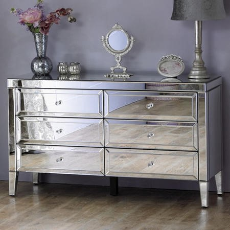 Valencia Mirrored Wide Chest Of Drawers With 6 Drawers