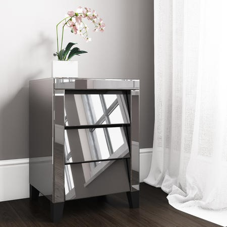 GRADE A1 - Valentina Grey Mirrored Bedside Table - 3 Drawers