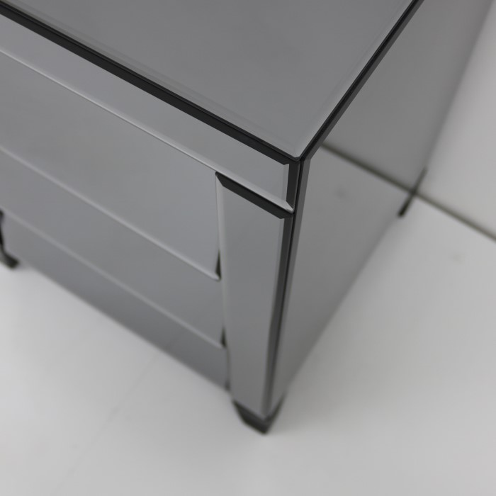 e97ead5c1959 Valentina Venetian Mirrored 3 Drawer Bedside Table - Tinted Grey Mirror