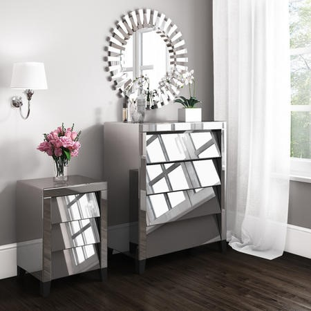 Valentina Venetian Mirrored 4 Chest of Drawers - Tinted Grey Mirror