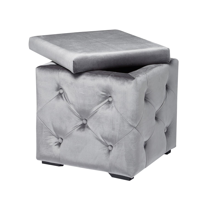 GRADE A2 - LPD Valentina Velvet Silver Storage Box  sc 1 st  Furniture 123 & GRADE A2 - LPD Valentina Velvet Silver Storage Box   Furniture123