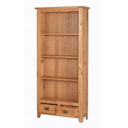 Heritage Furniture Cherbourg Rustic Oak Tall Bookcase With Drawers