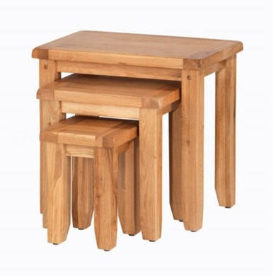 Heritage Furniture Cherbourg Rustic Oak Nest of 3 Tables