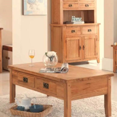 Heritage Furniture Cherbourg Rustic Oak Small Coffee Table With Drawers