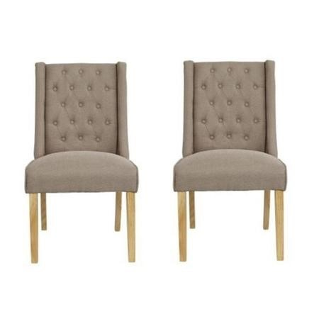 LPD Wing Linen Pair of Beige Dining Chairs