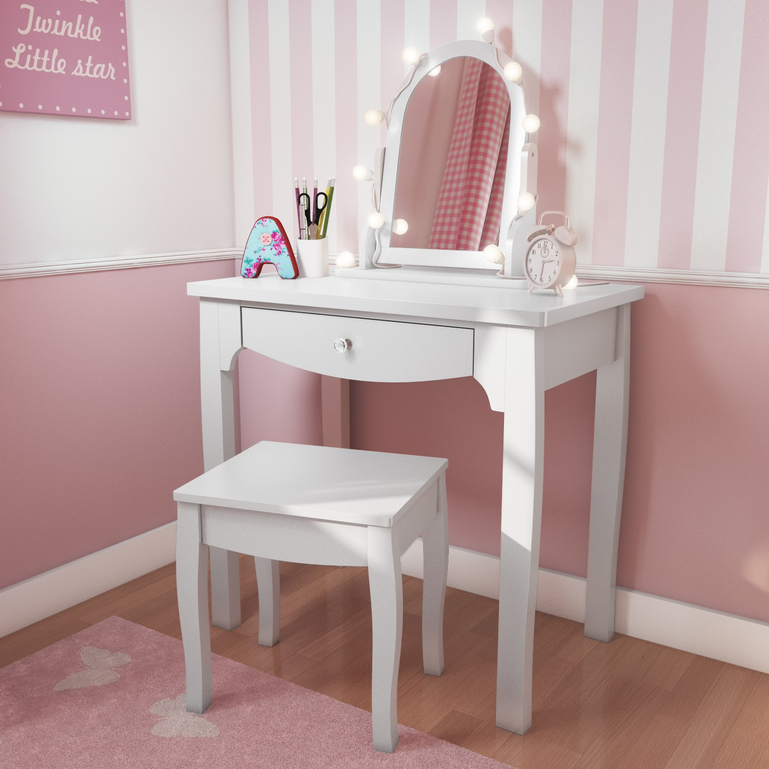 Victoria Girls White Dressing Table With Stool Amp Mirror