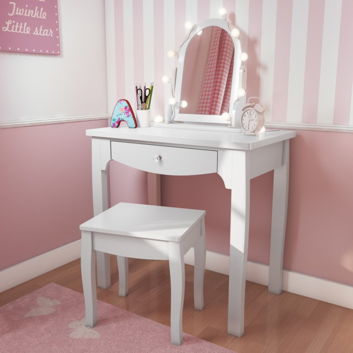 Victoria Girls White Dressing Table With Stool Mirror Furniture123