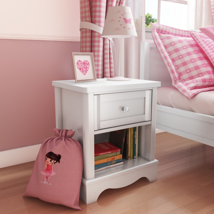 Victoria Girls White 1 Drawer Bedside Table Furniture123