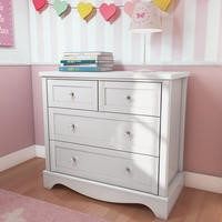 Victoria Girls White 2+2 Chest of Drawers - 4 Drawers