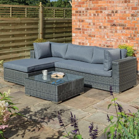 Rowlinson Rattan L Shaped Garden Lounger Set in Grey – Vienna Range