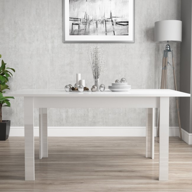 GRADE A1 - White High Gloss Dining Table 6 Seater Extendable - Vivienne